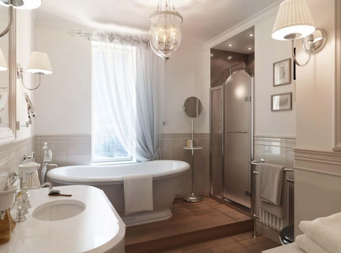 Узкое окно в ванной в стиле модерн