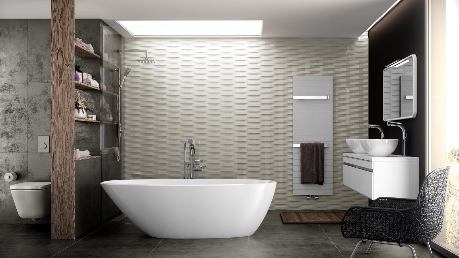 Необычные разнофактурные стены в ванной в стиле модерн