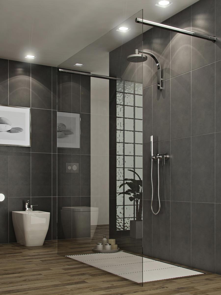 Серые стены и точечное освещение в ванной в стиле модерн