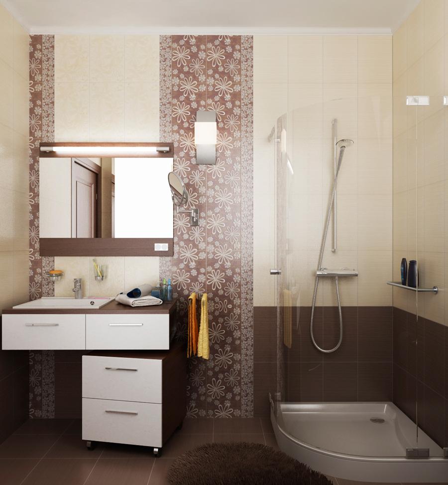 Бежево-коричневая ванная в стиле модерн