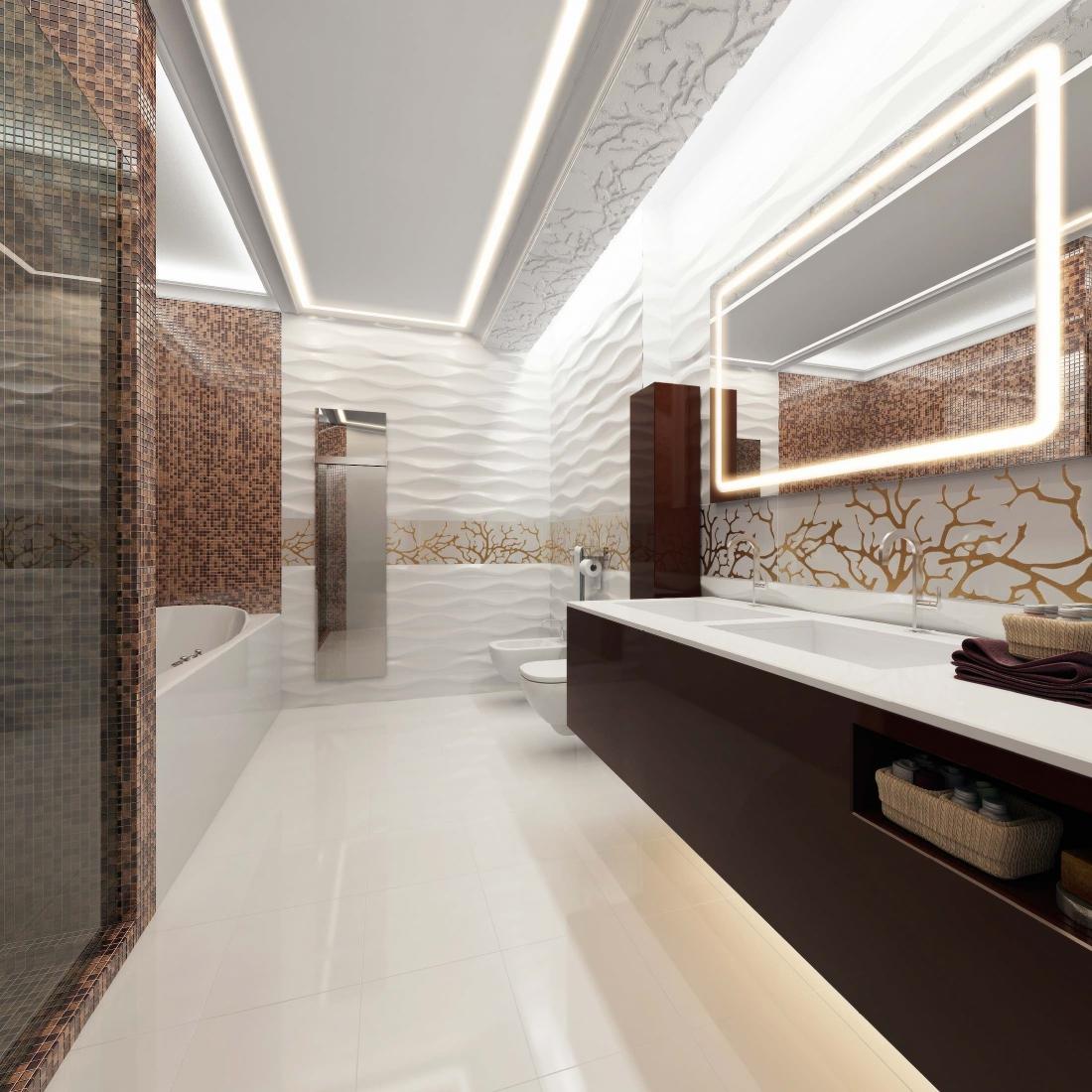 Бело-коричневая небольшая ванная в стиле модерн