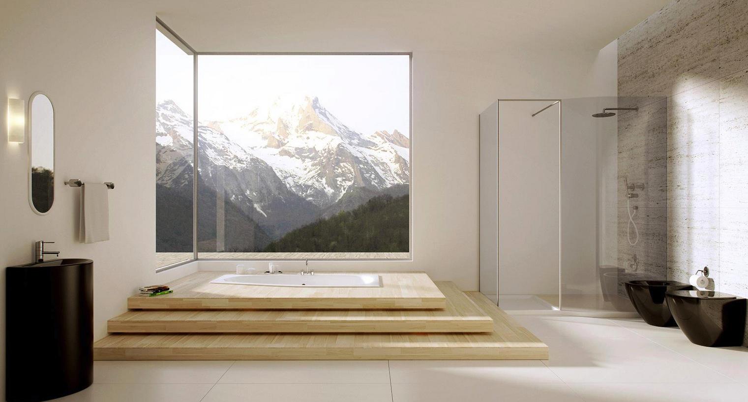 Окрашенные стены в большой ванной в стиле модерн