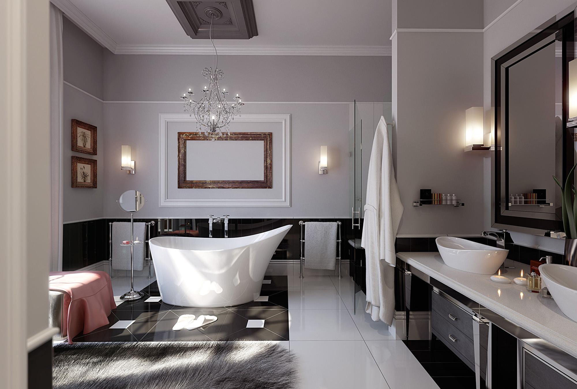Однотонный потолок в ванной в стиле модерн