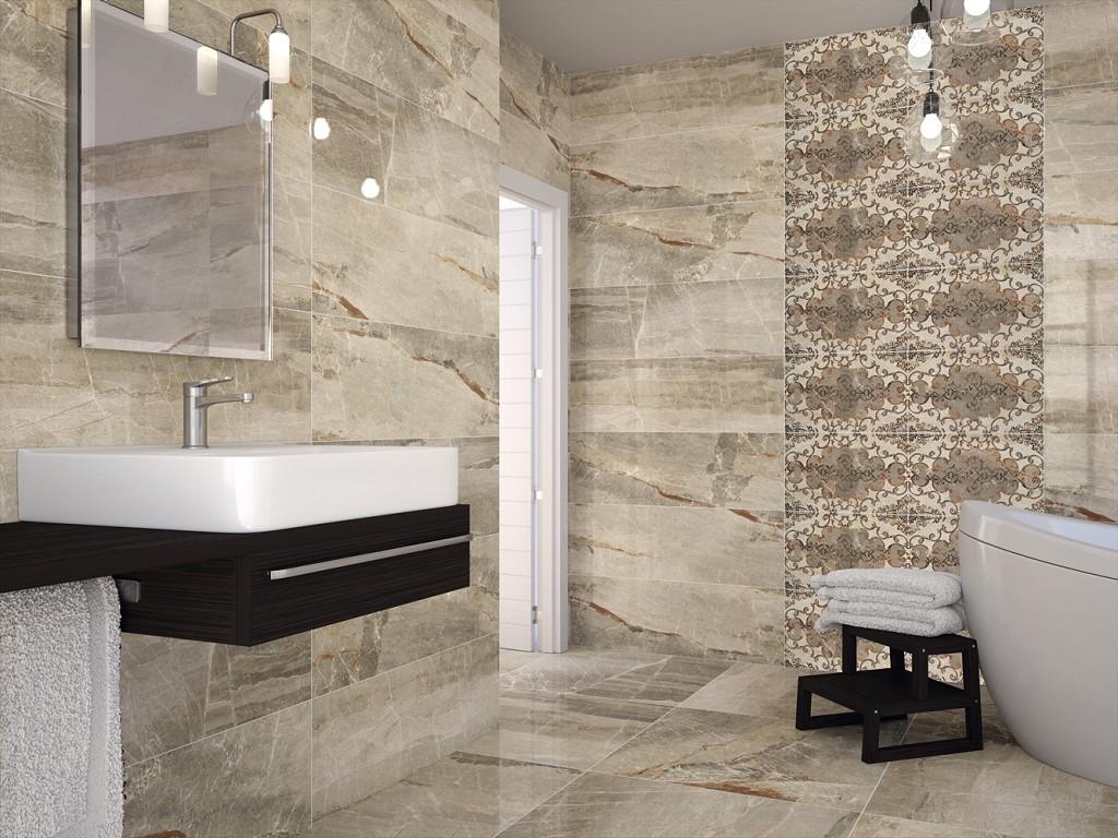 Серый мрамор и узорчатая плитка в отделке ванной комнаты
