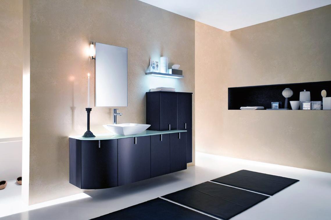 Подсветка пола и полок в ванной