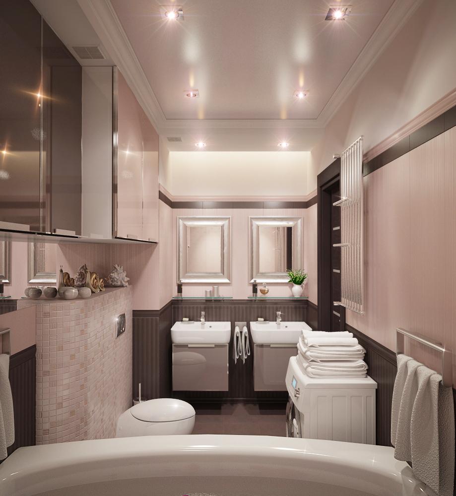 Встроенное потолочное освещение в узкой ванной комнате