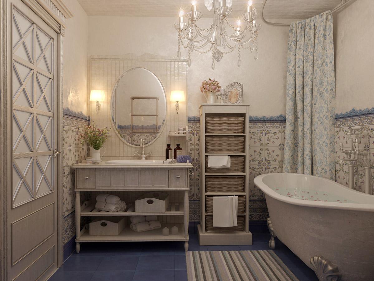 Ванная с узорчатой плиткой в стиле прованс