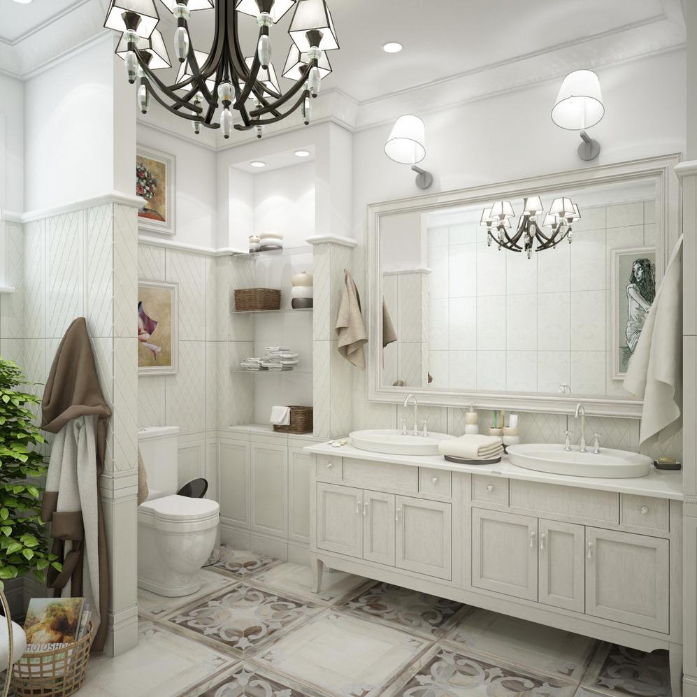 Ванная в белых тонах в стиле прованс