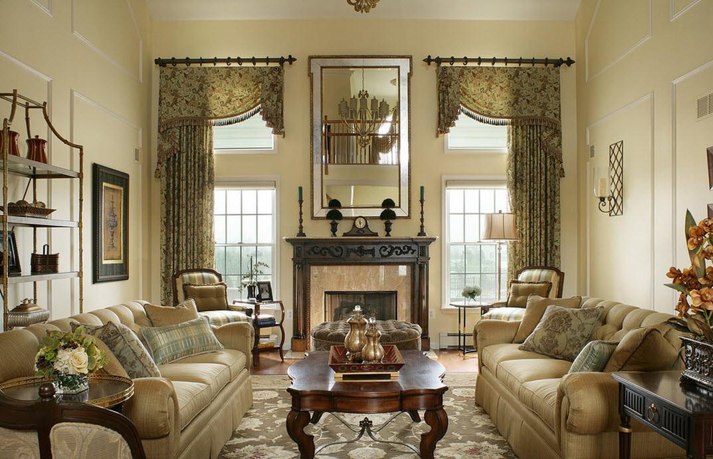 Глубокие пастельные тона в гостиной в викторианском стиле