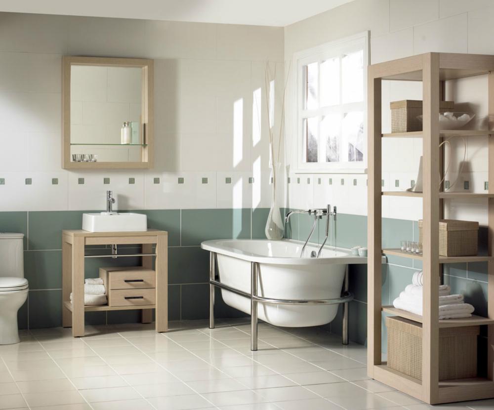 Бело-зеленая ванная в стиле винтаж с бежевой мебелью