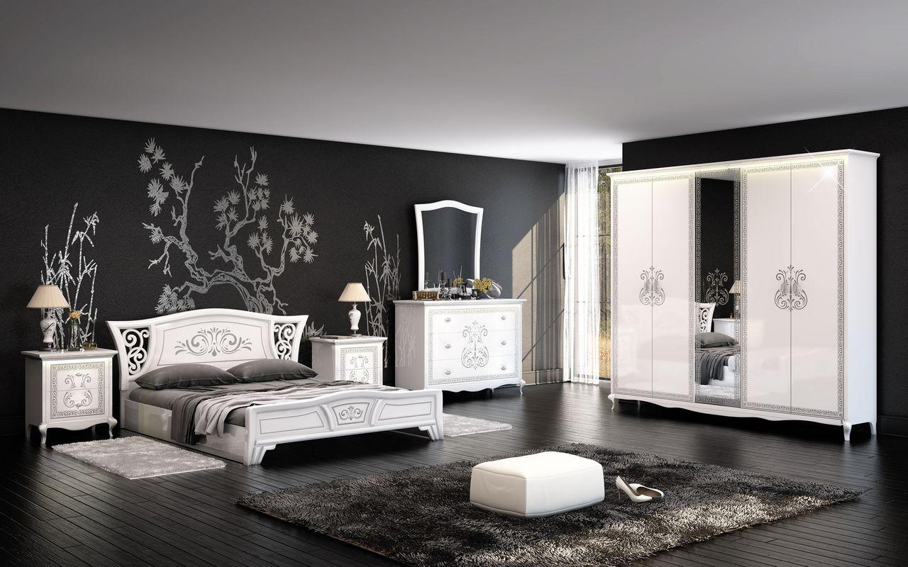 Черно-белая спальня в стиле винтаж