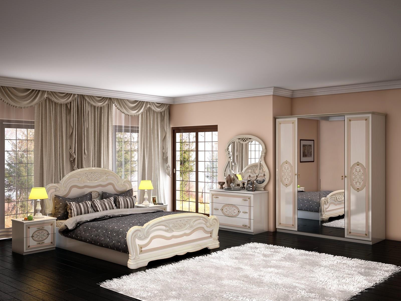 Кремово-черная спальня в стиле винтаж