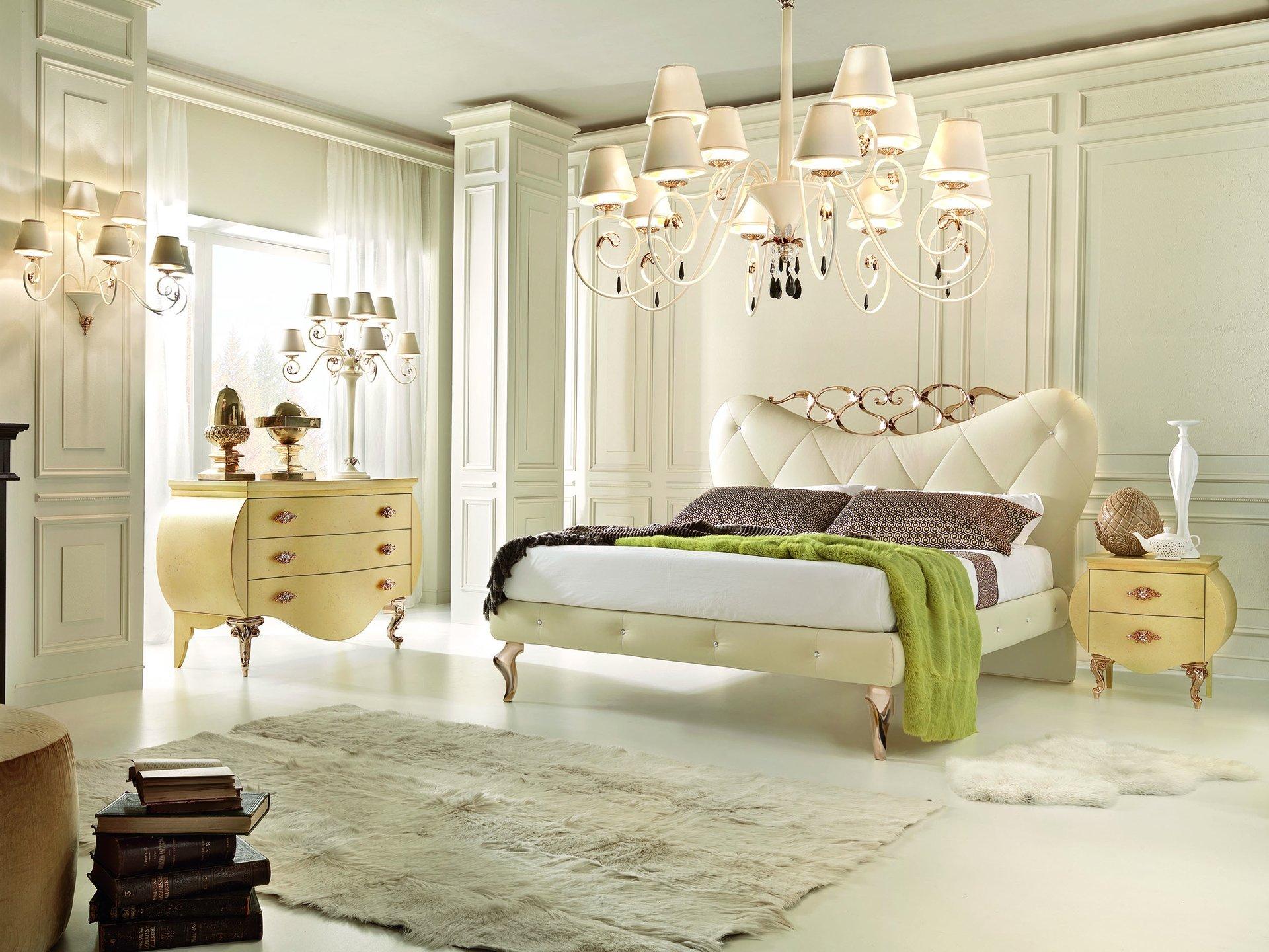 Кремово-белая спальня в стиле винтаж
