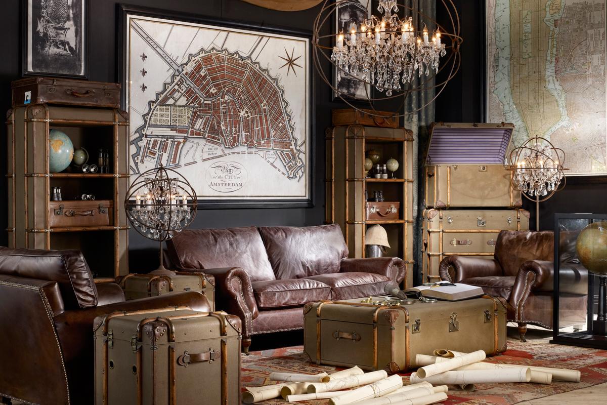 Винтажная гостиная в коричневых тонах