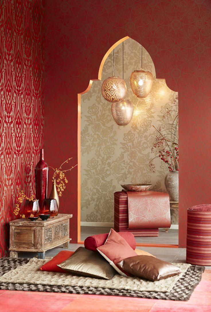 Бордовый интерьер в восточном стиле