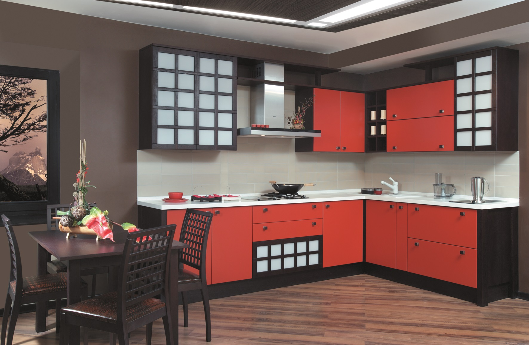 Красно-черная кухня в восточном стиле