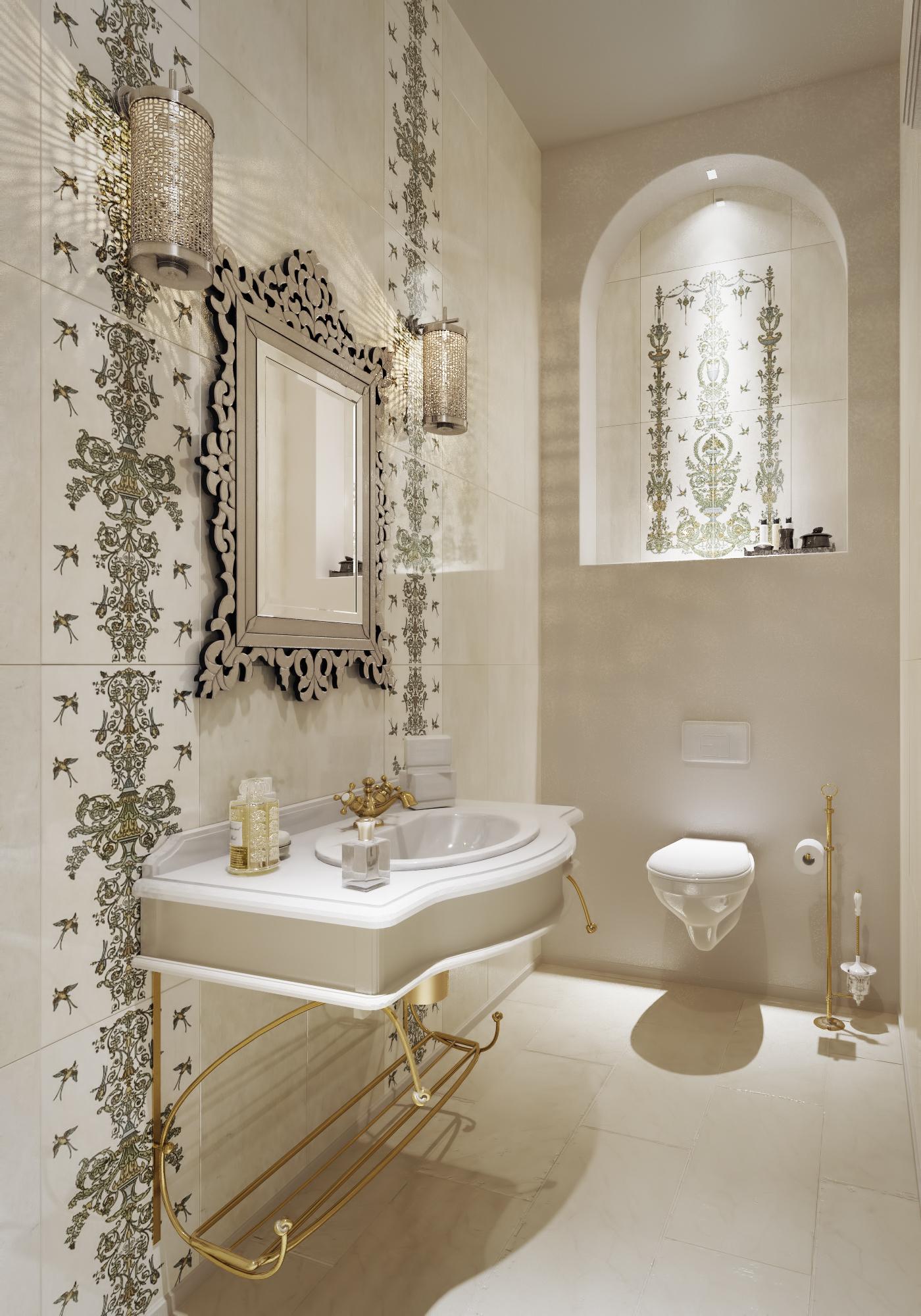 Светлая ванная комната в восточном стиле