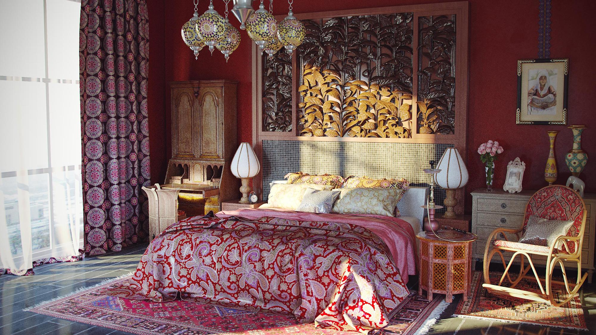 Красивая спальная комната в восточном стиле