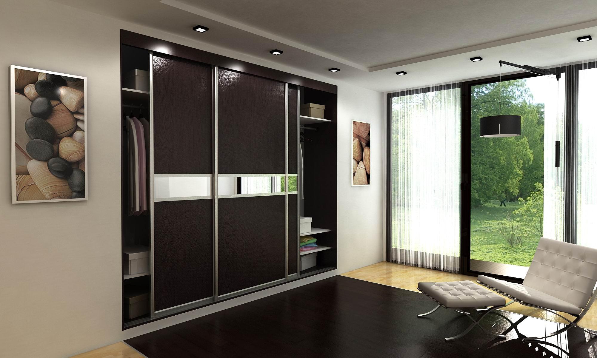 Черный встроенный шкаф купе