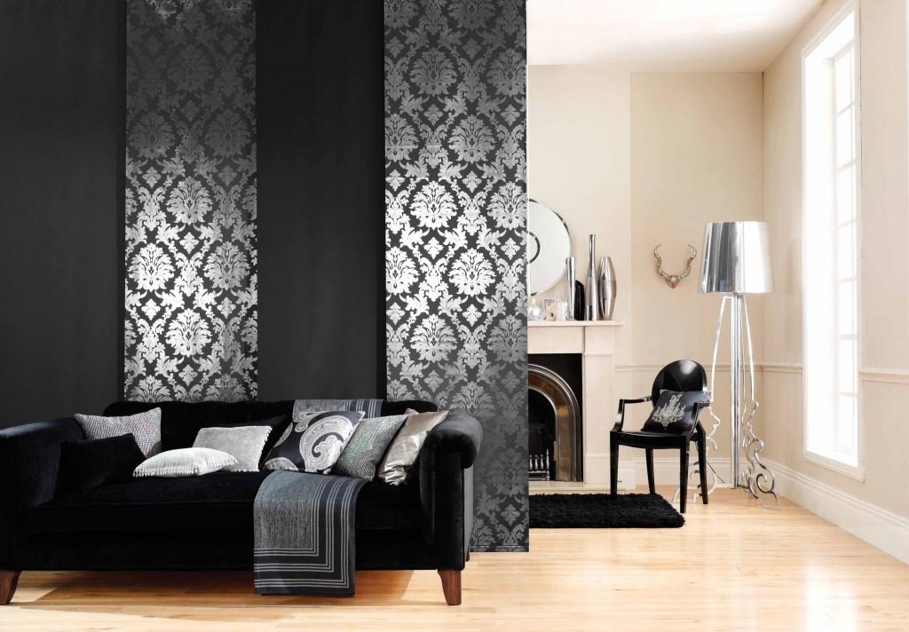 Стильные черные японские шторы для разделения пространства в гостиной