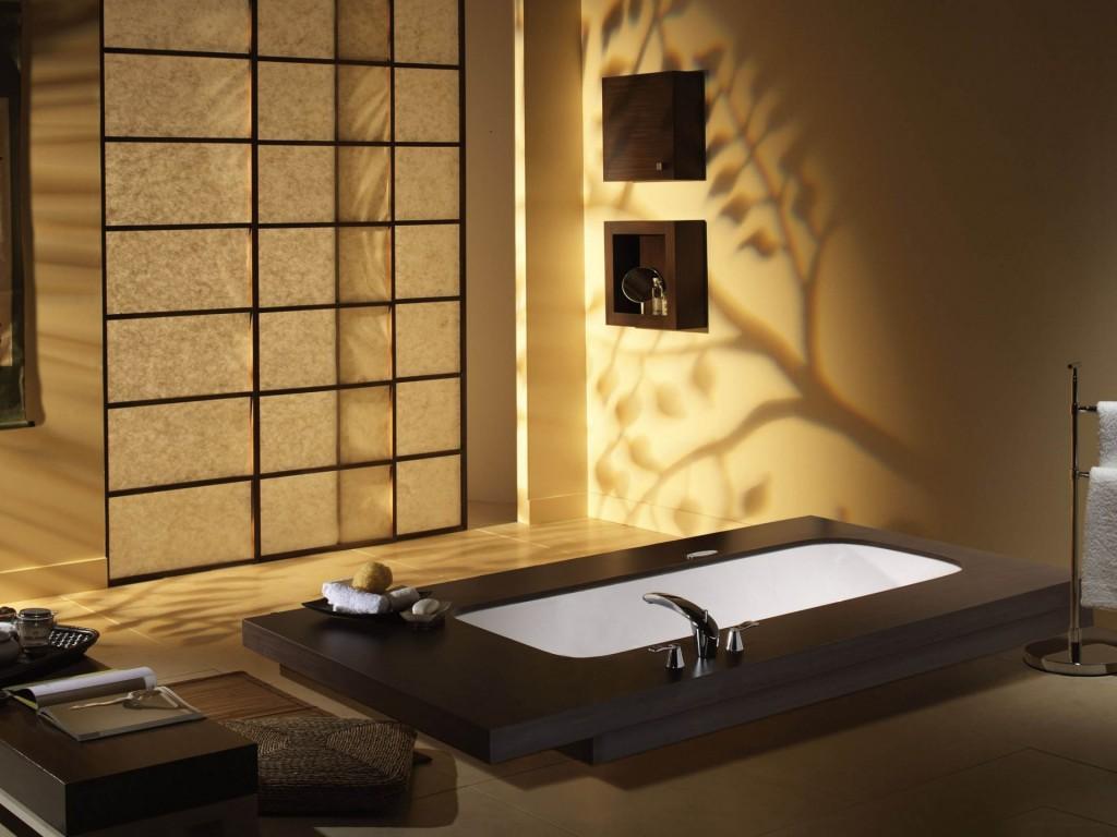 Двери с рисовой бумагой в ванной в японском стиле