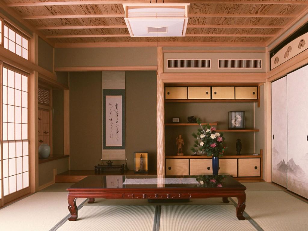 Дерево в отделке японской гостиной