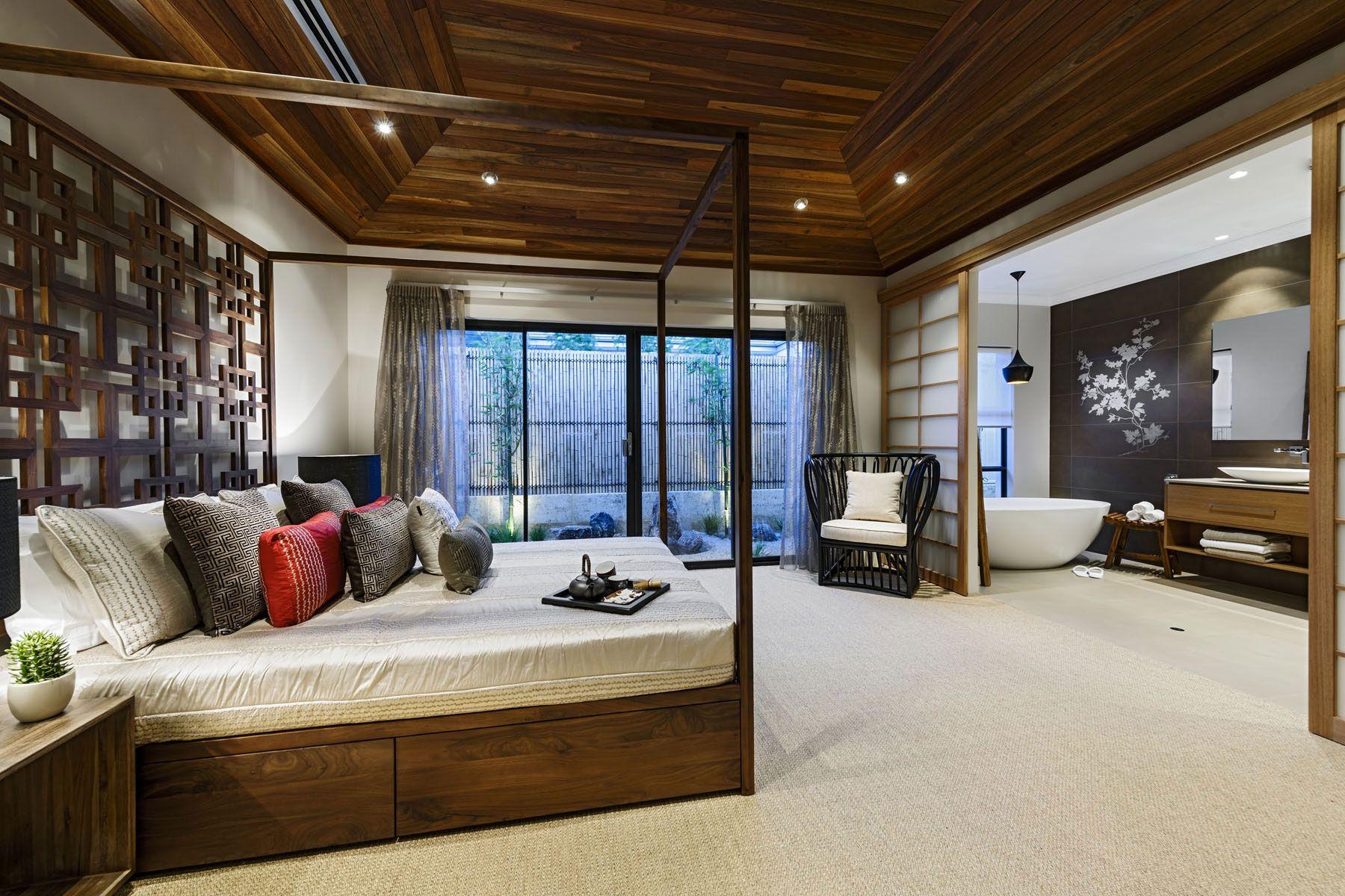 Красивая спальня и ванная в японском стиле