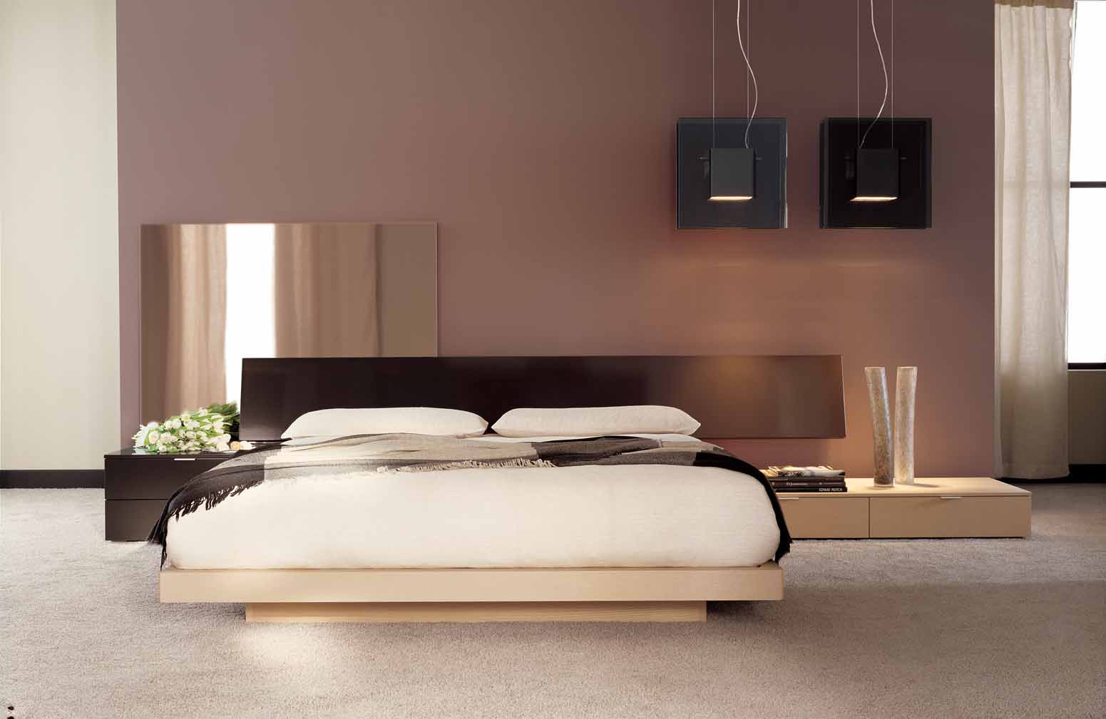 Спальня в пастельных тонах в японском стиле