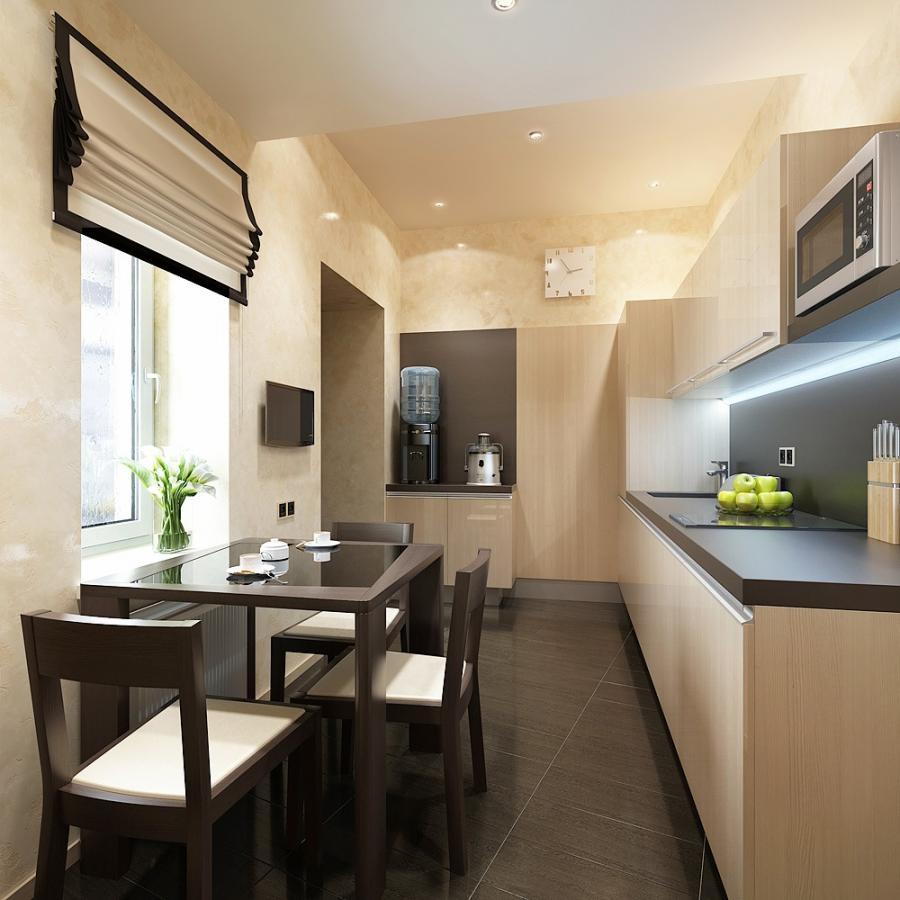 Бежево-черные римские шторы на кухне