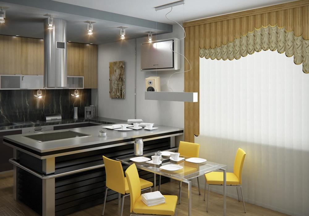 Вертикальные тканевые жалюзи на кухне