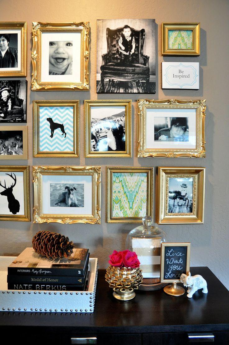 Фотографии в золотой рамке в интерьере