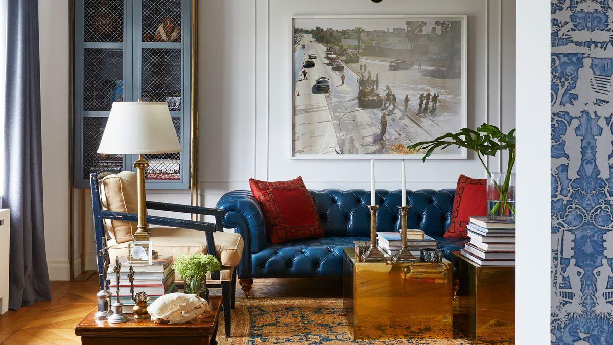 Голубая гостиная в английском стиле