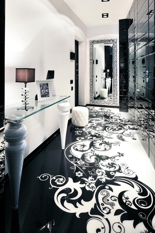 Гостиная в черно-белых тонах в стиле арт-деко