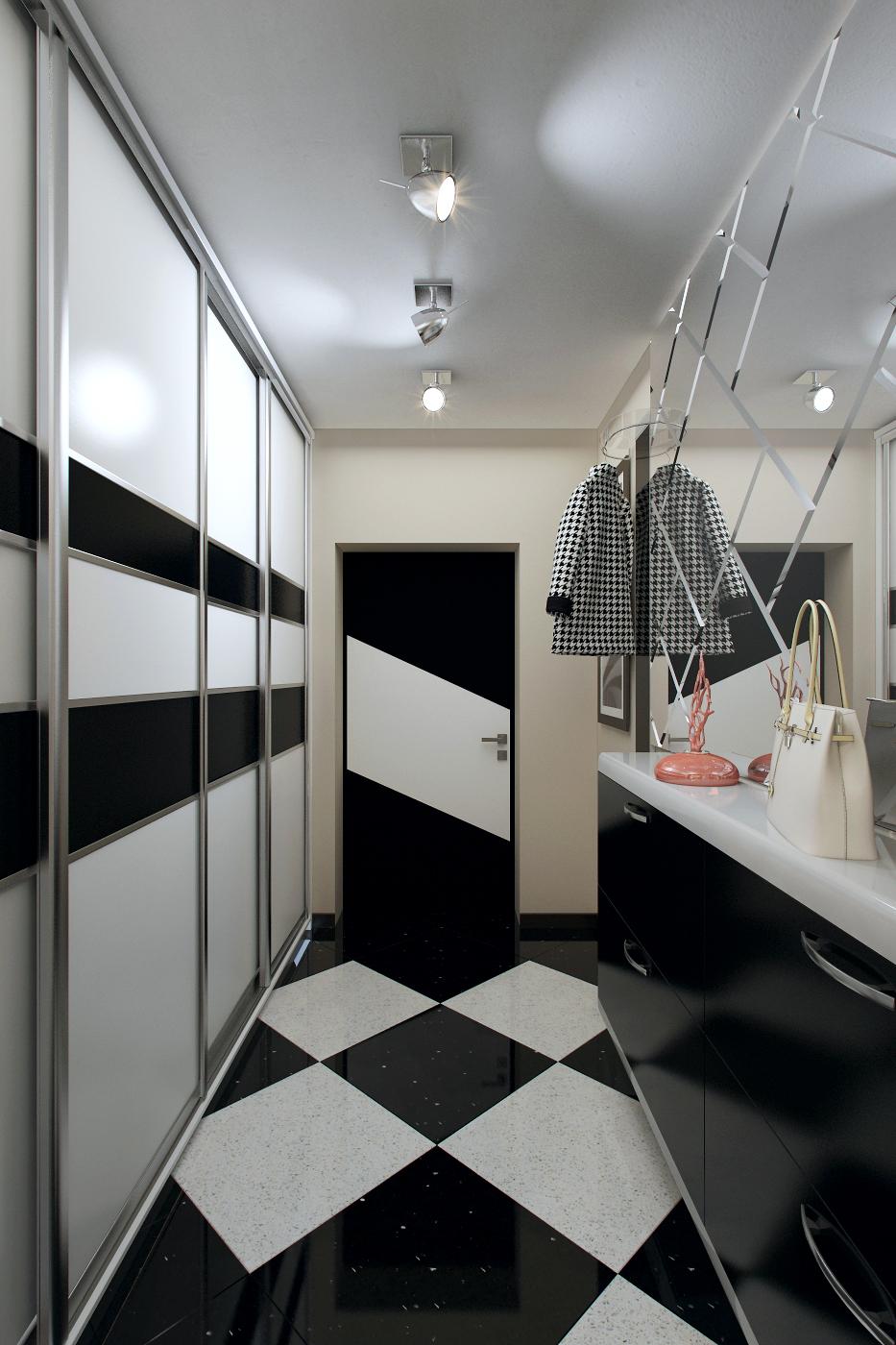 Черно-белая плитка с вкраплениями на полу в прихожей