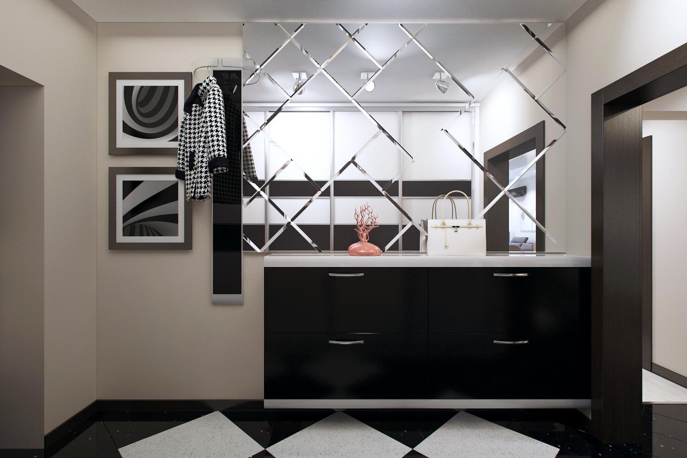 Черно-белая плитка на полу в прихожей