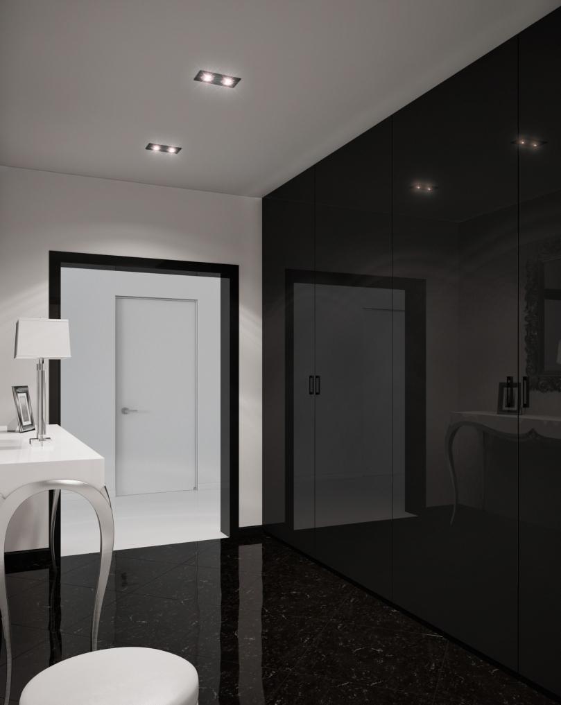 Черная глянцевая стена в черно-белой прихожей