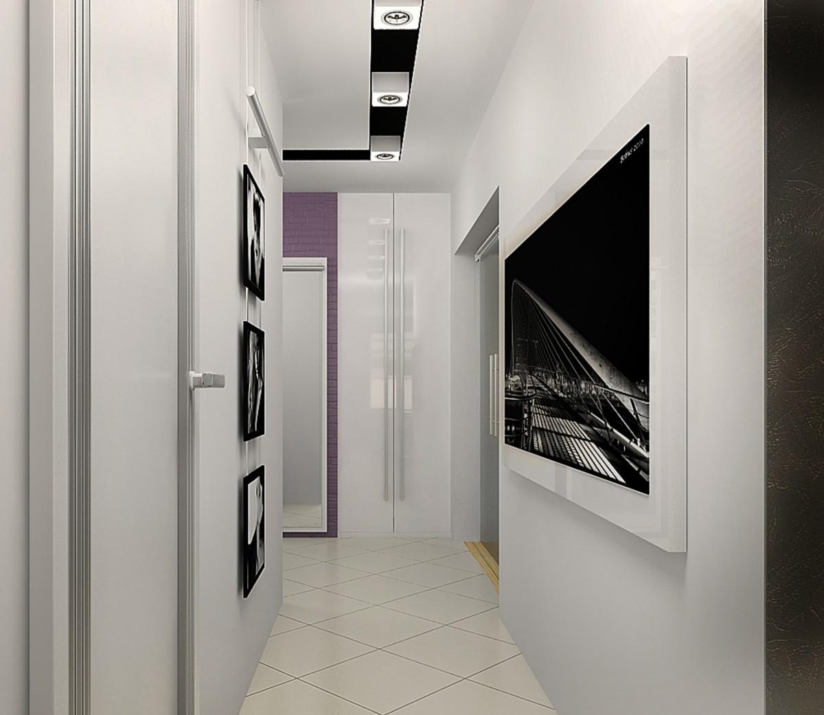 Черно-белые картины в коридоре