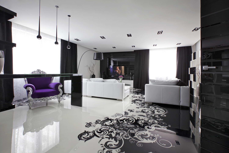 Белый потолок в черно-белой гостиной