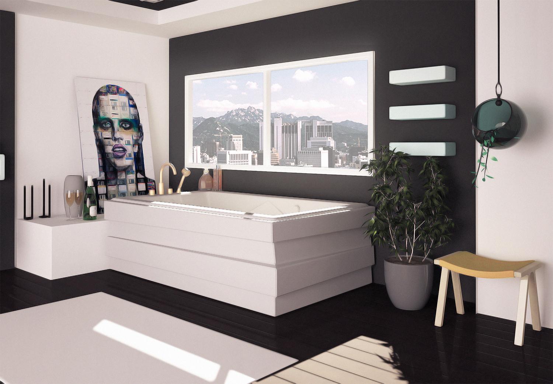 Черно-белая ванная с аксессуарами