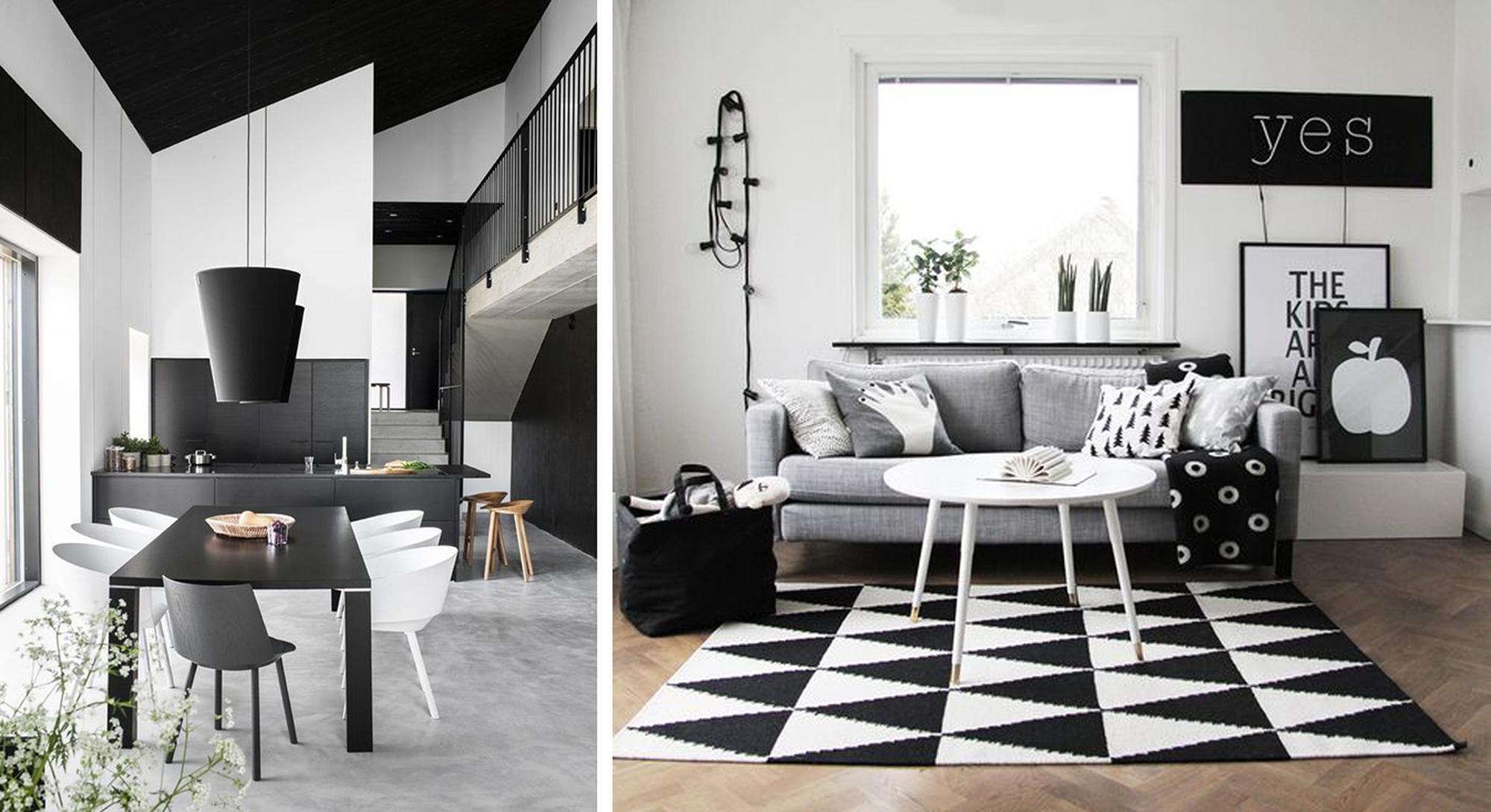 Черно-белая гостиная и кухня