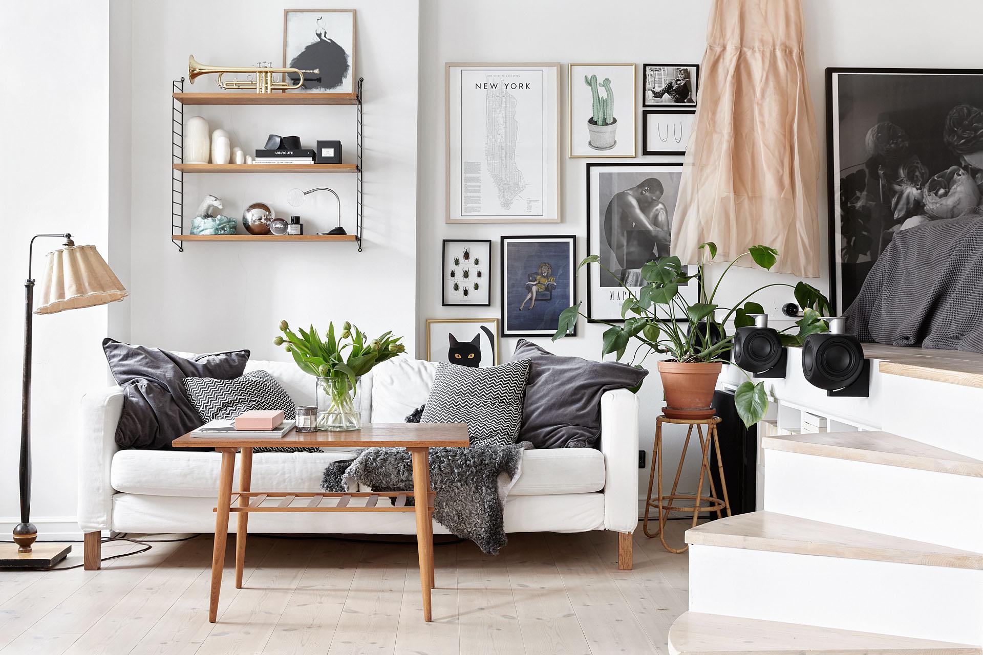 Черно-белая гостиная с коричневыми акцентами