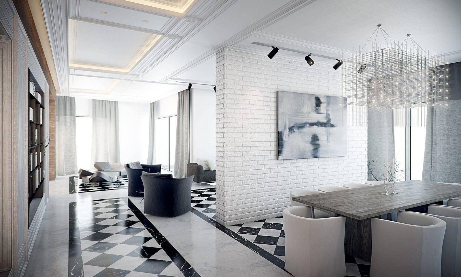 Черно-белый интерьер большой квартиры