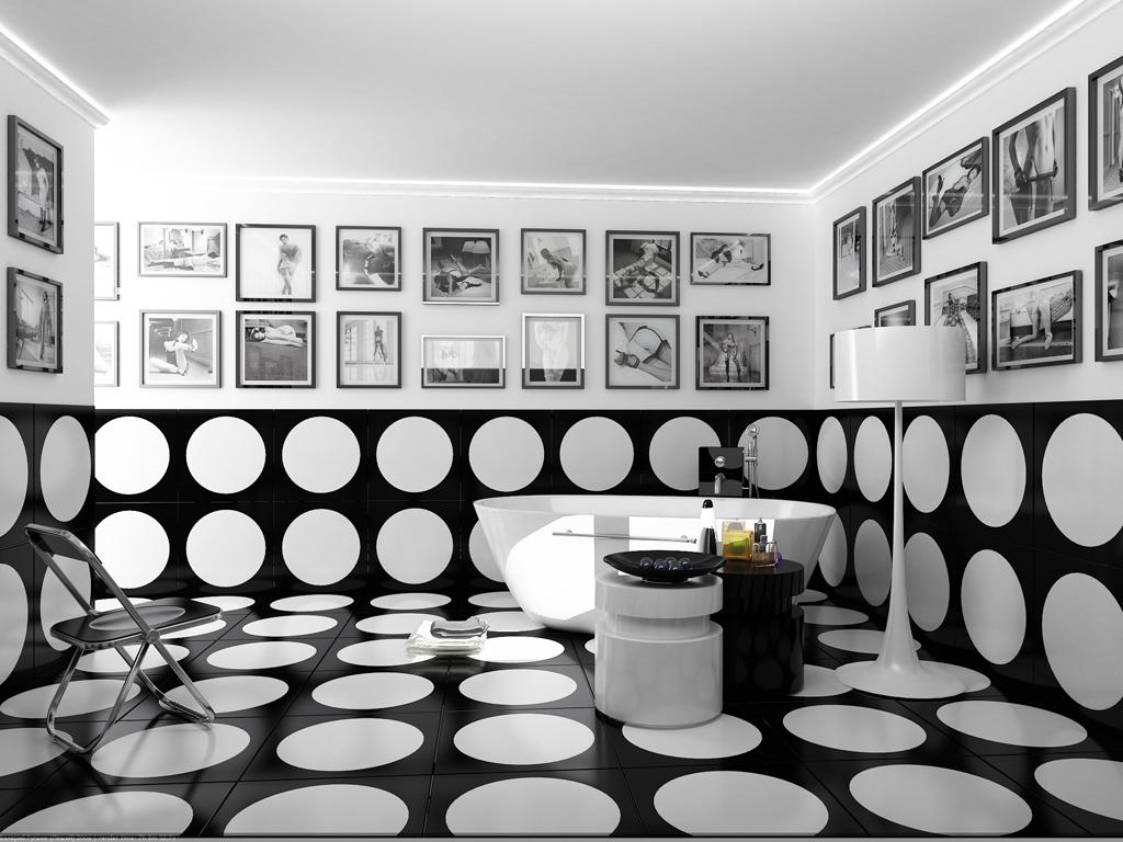 Белый потолок в черно-белой ванной