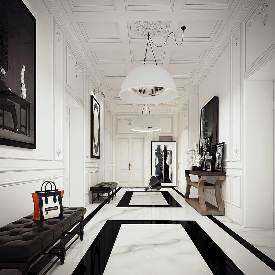 Белый двухуровневый потолок в коридоре