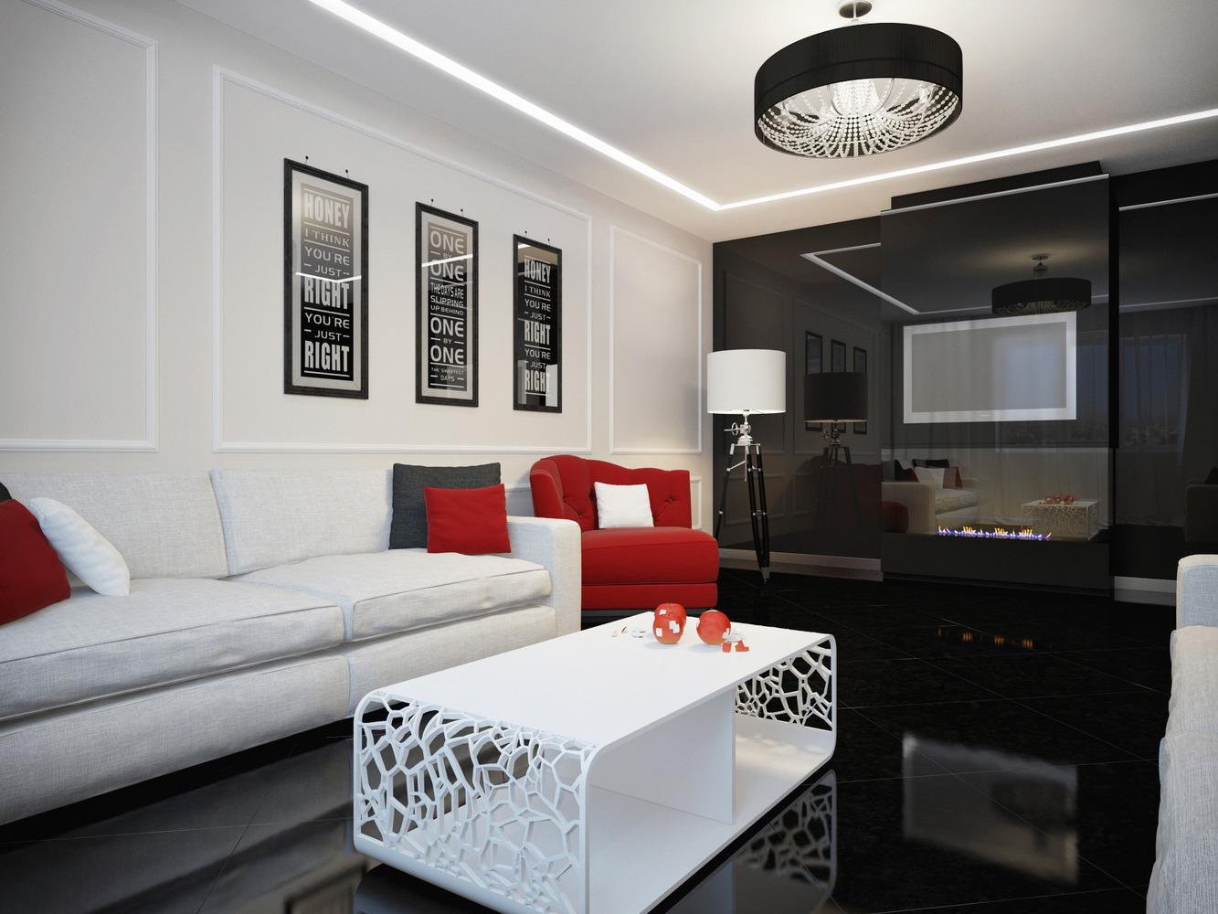 Черный пол и белые стены в гостиной с красными акцентами