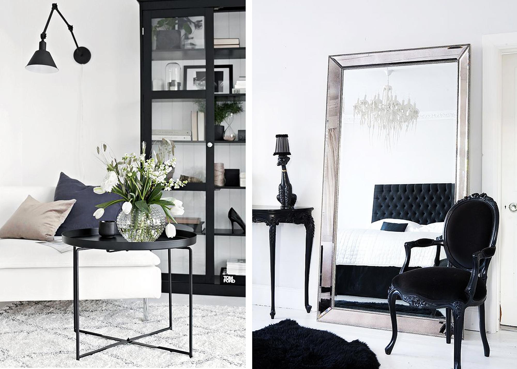 Черно-белые стильные интерьеры