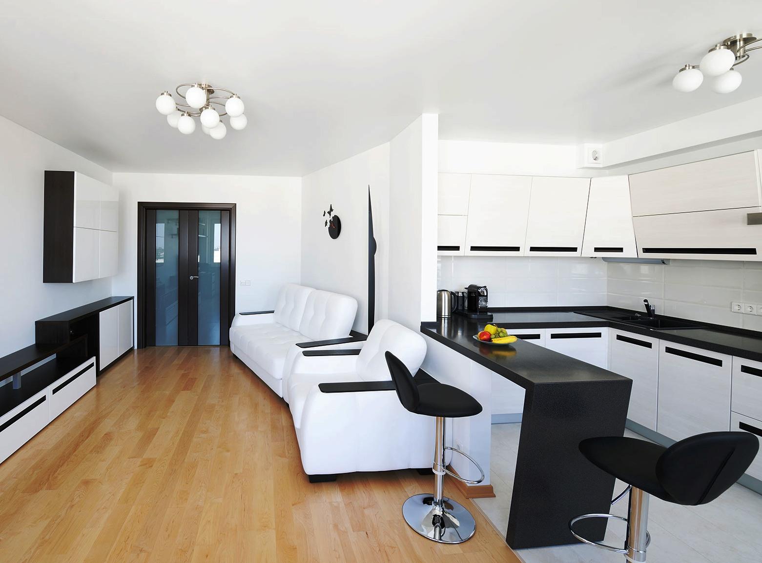 Черно-белая мебель в гостиной-кухне
