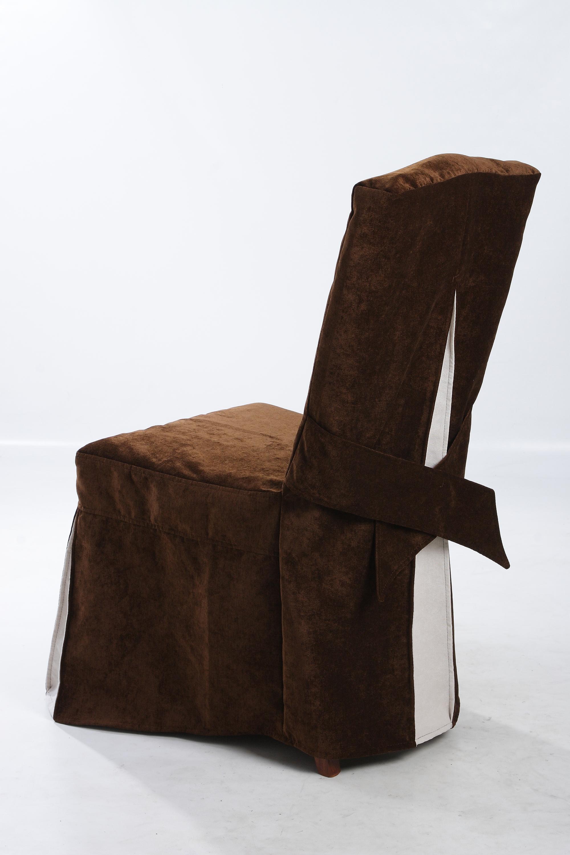 Коричнево-белый бархатный чехол на стул