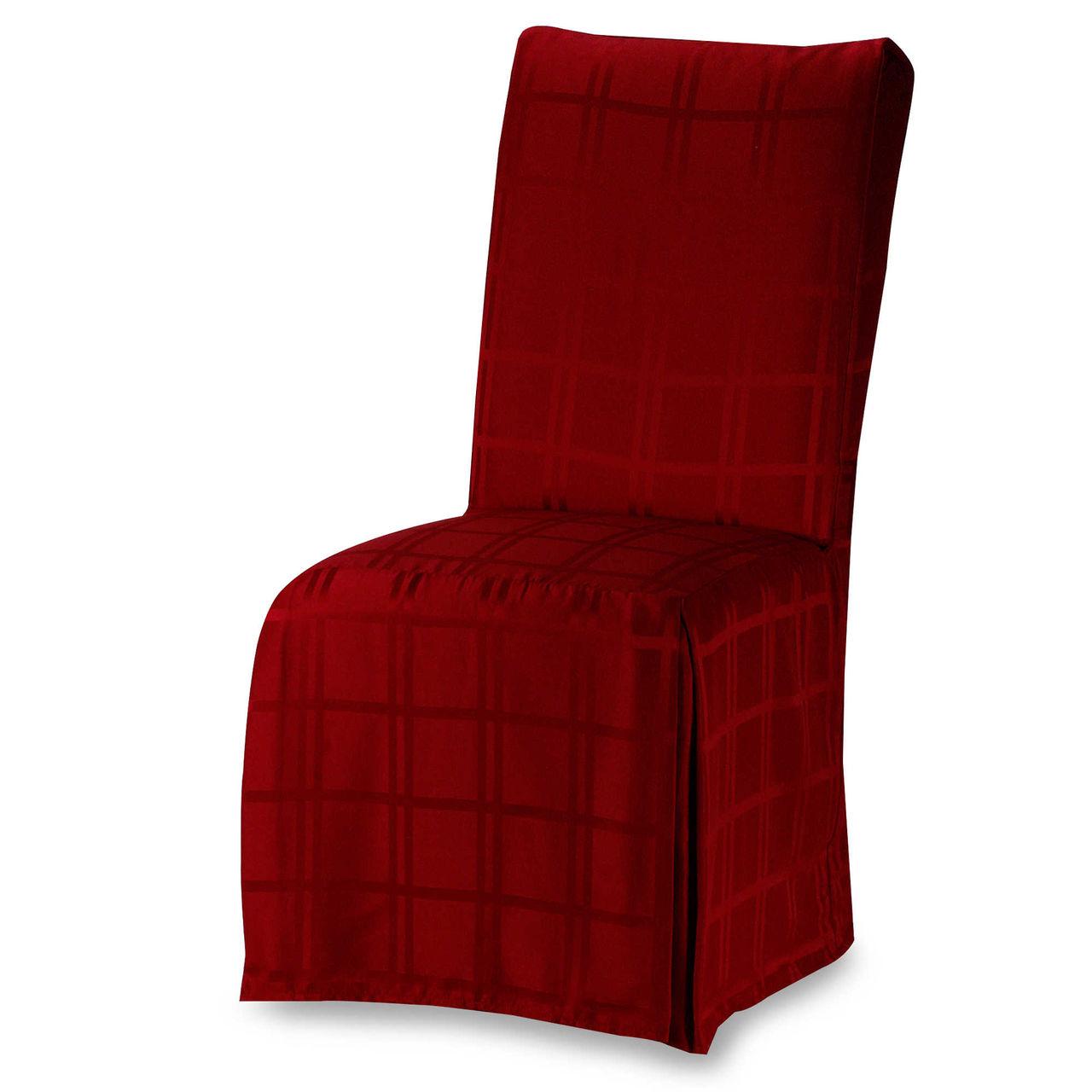 Красный тканевый чехол на весь стул