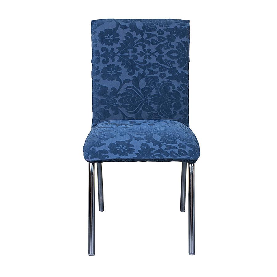 Синий бархатный чехол на стул